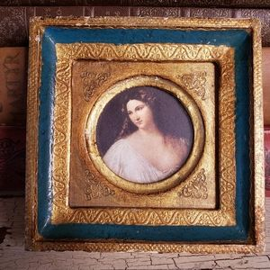 Small Florentine Framed Print of Antique Portrait